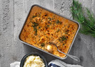 Fiskgratäng med tomat, dill och potatispuré