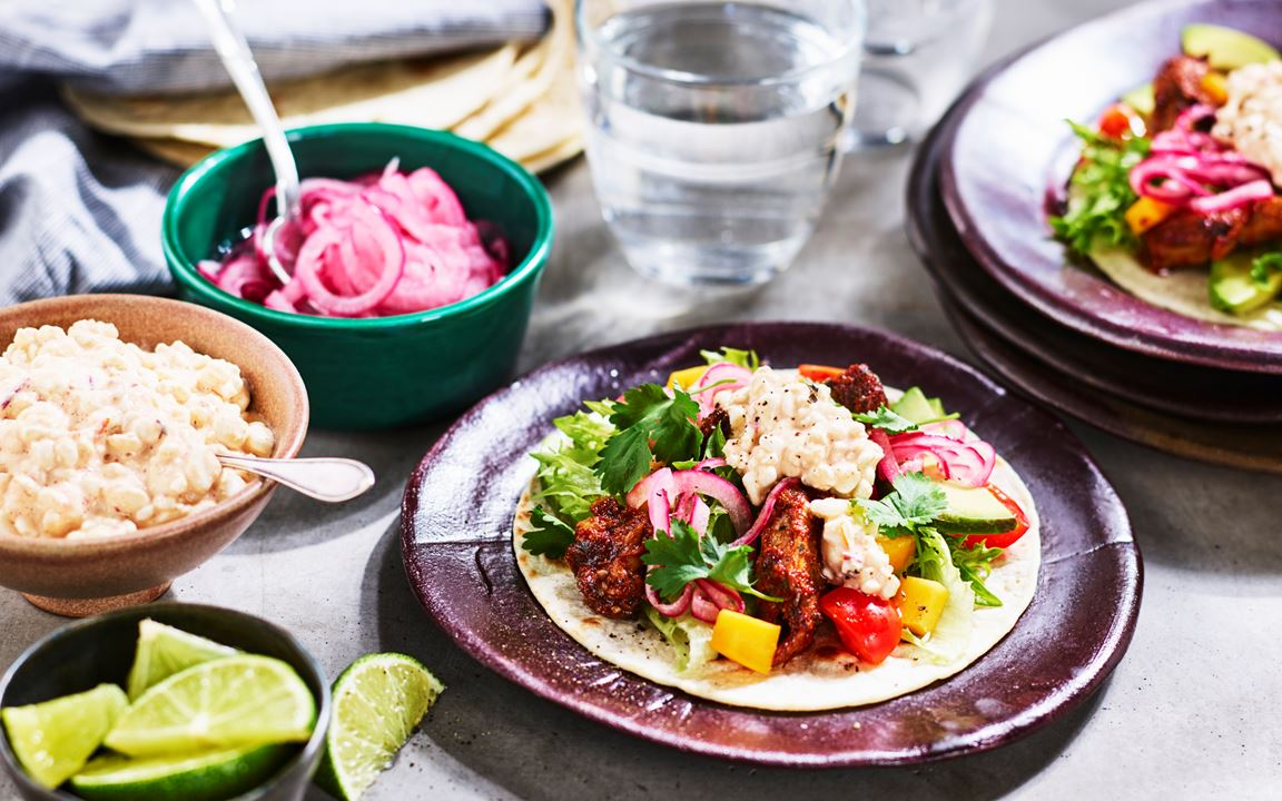 Vegetariska fajitas med cottage cheese