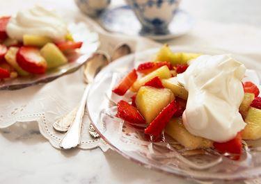 Citronmarinerade jordgubbar och melon
