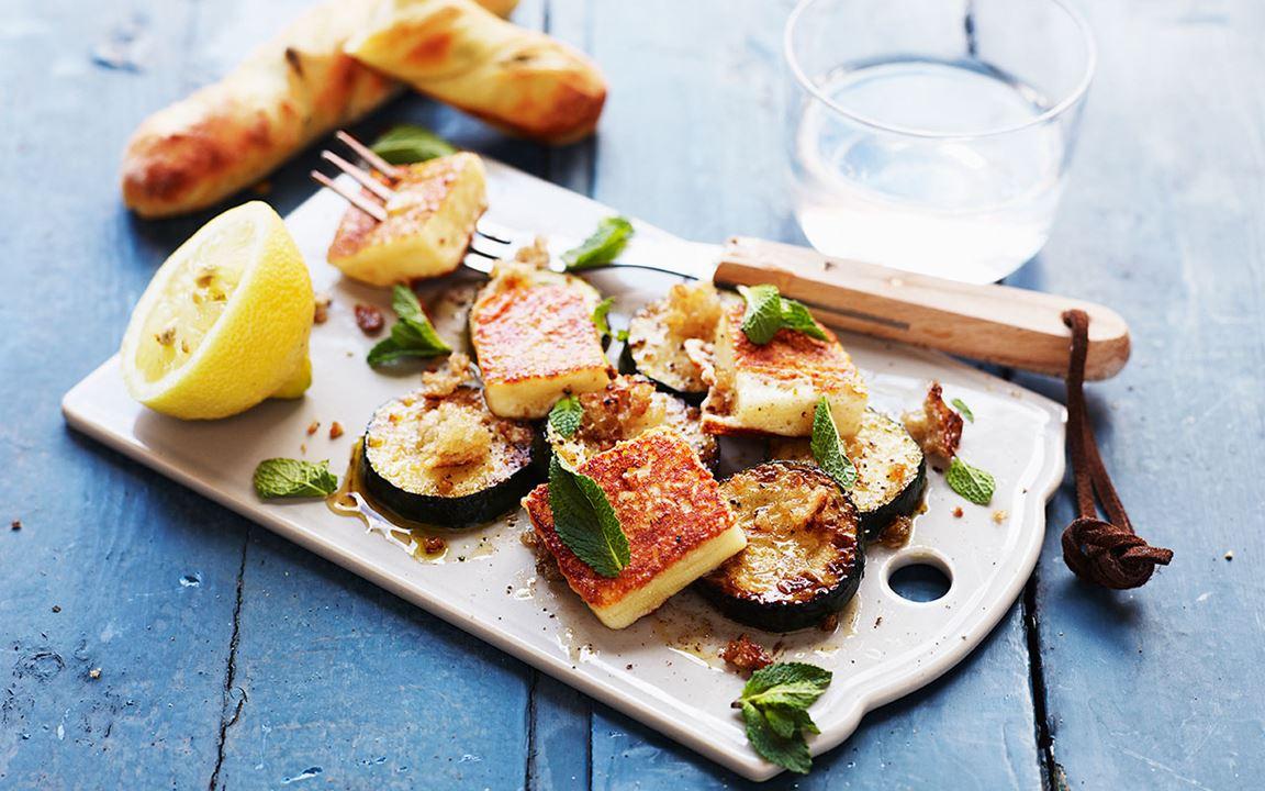Zucchiniplock med grill cheese och mynta