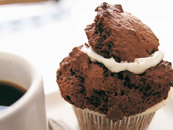 Fyllda chokladmuffins
