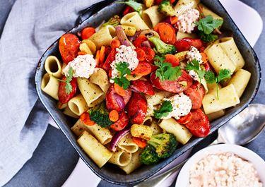 Pasta med wokgrönsaker