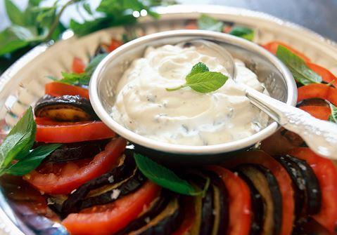 Stekt aubergine med myntayoghurt