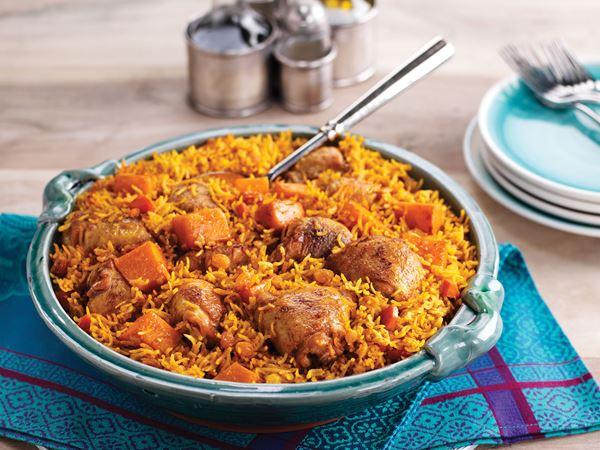 Bakat kryddigt ris med kyckling och pumpa