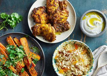 Kryddrostad kyckling 'Ras el hanout' med marockansk morotssallad
