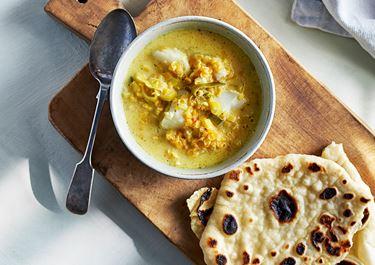 Kryddig fisksoppa med chapati