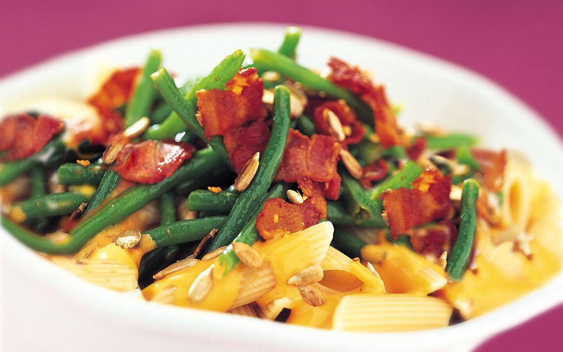 Pasta med bacon och haricots verts