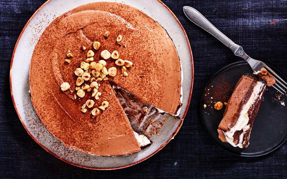 Cheesecake med vanilj, hasselnöt och choklad