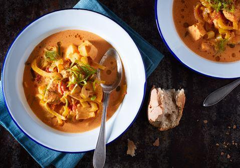 Fisksoppa med saffran fänkål