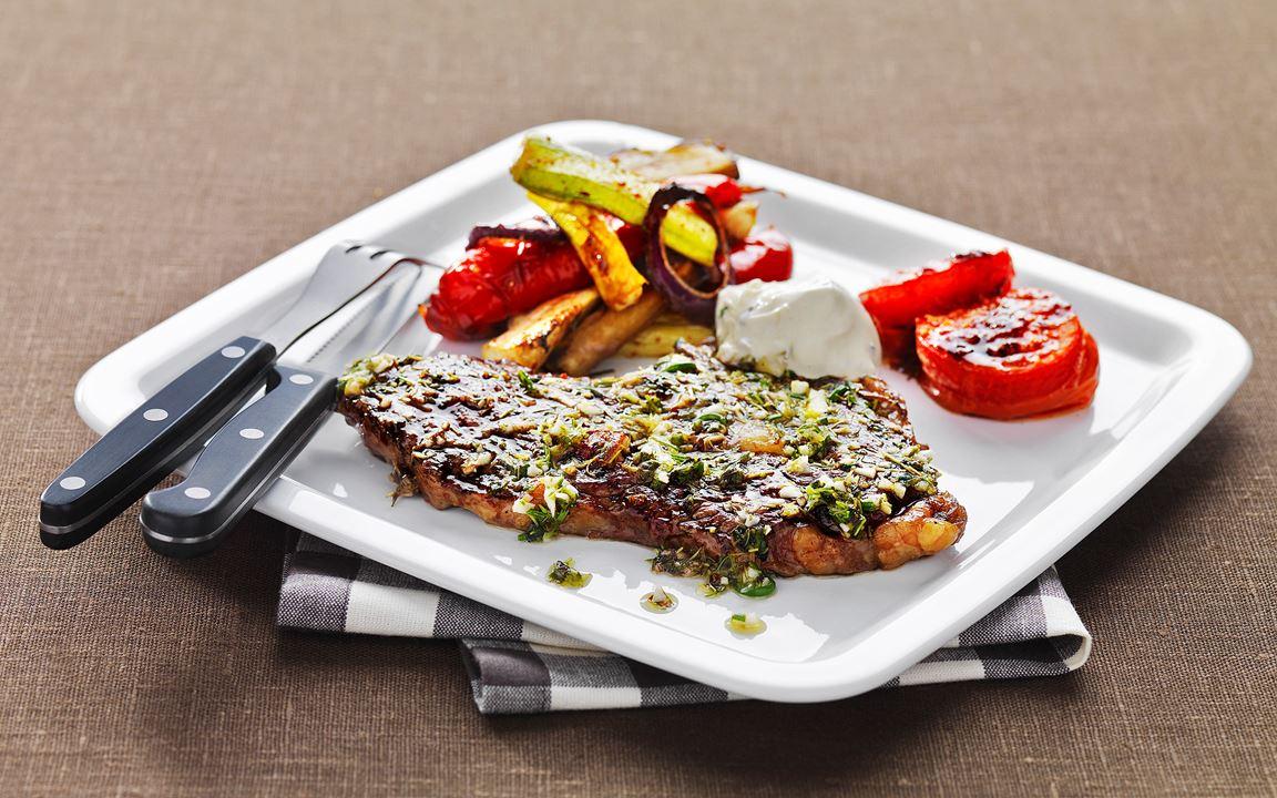 Entrecote med medelhavsgrönsaker