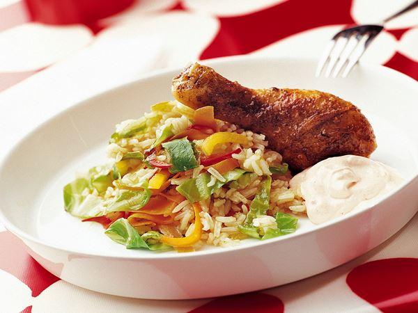 Wokat grönsaksris med kyckling