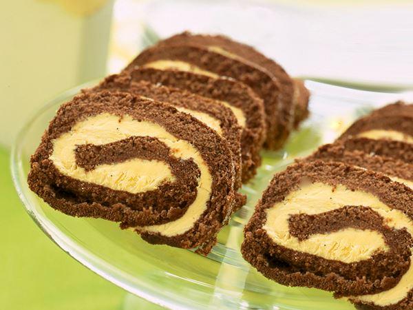 Chokladrulltårta med vanilj