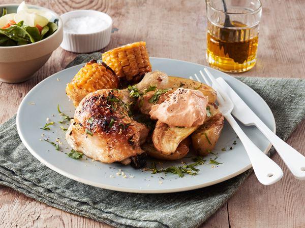 Kyckling med majs och potatis