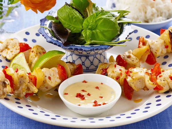 Kycklingspett med asiatisk citronsås