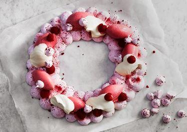 Hallon- och yoghurtkrans