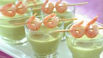 Grön ärtpuré med räkspett