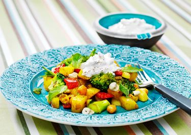 Pytt i panna med curry och kikärter