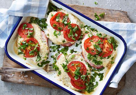 Kassler i ugn med senap och tomat