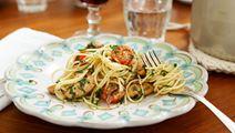 Spaghetti med kyckling och sardeller