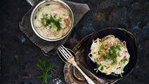 Spaghetti med räkor och ostsås med smak av fänkål