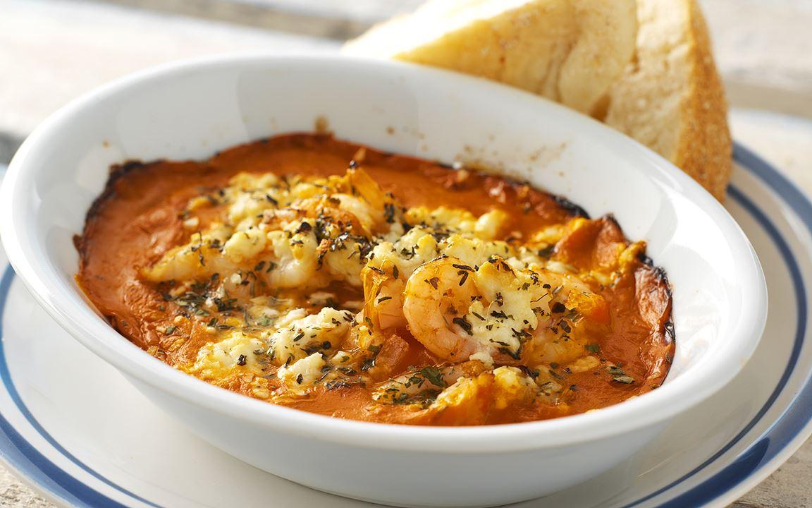 Gratinerade räkor i tomatsås
