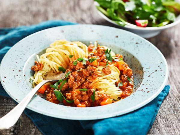 Spaghetti bolognese med quornfärs