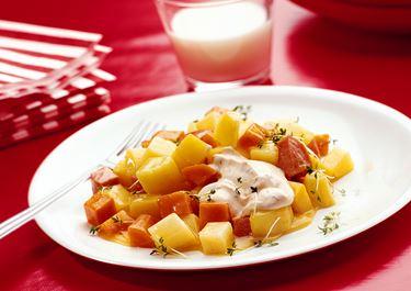 Korv- och rotfruktsgryta med apelsinsås