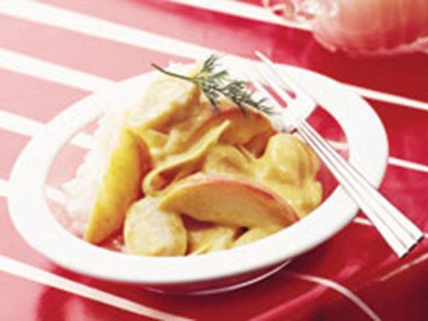 Fiskbullar med curry och äpple