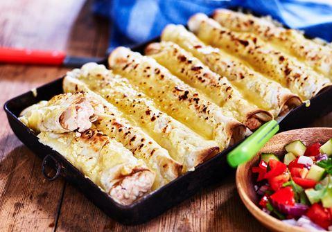 Enchiladas med kyckling och cottage cheese