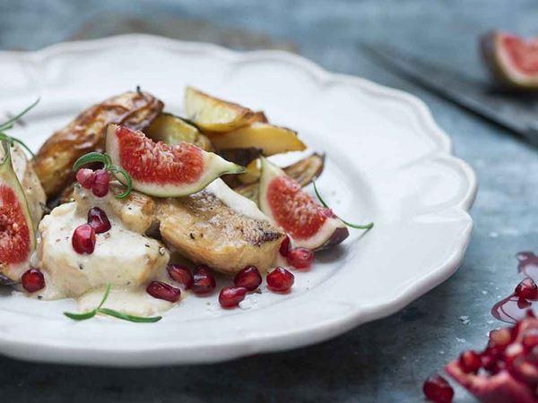 Kycklinggryta med granatäpple och fikon