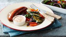 Chorizo med ugnsstekta grönsaker