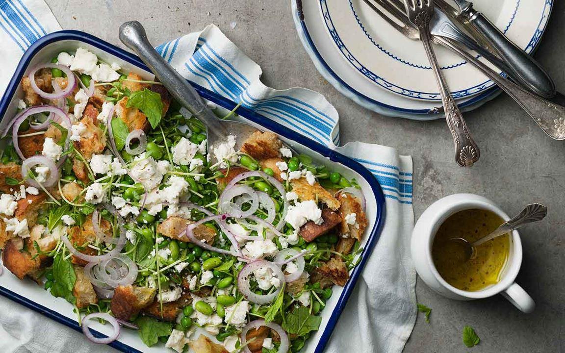 Sallad med sojabönor och fetaost