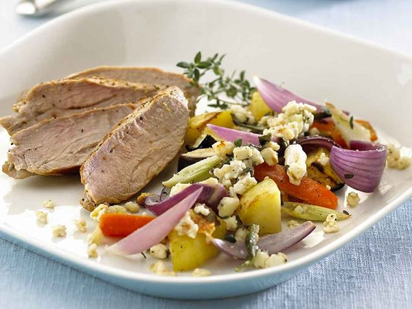 Ugnsstekta grönsaker med fetaost