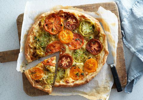 Tomatgalette med purjolök och ost