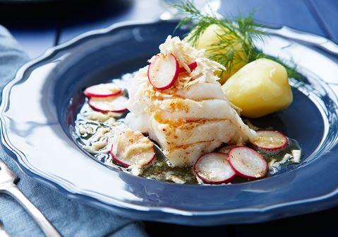Kokt torsk med brynt smör