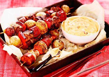 Heta grillspett med chorizo