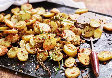 Rostad potatis med solrosfrön