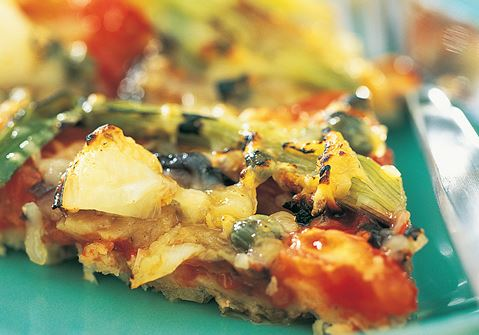 Pizza med salladslök & aubergine