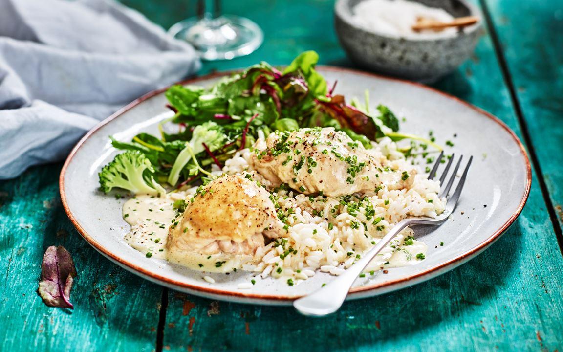 Kycklingfilé med dijonsenap och gräslök