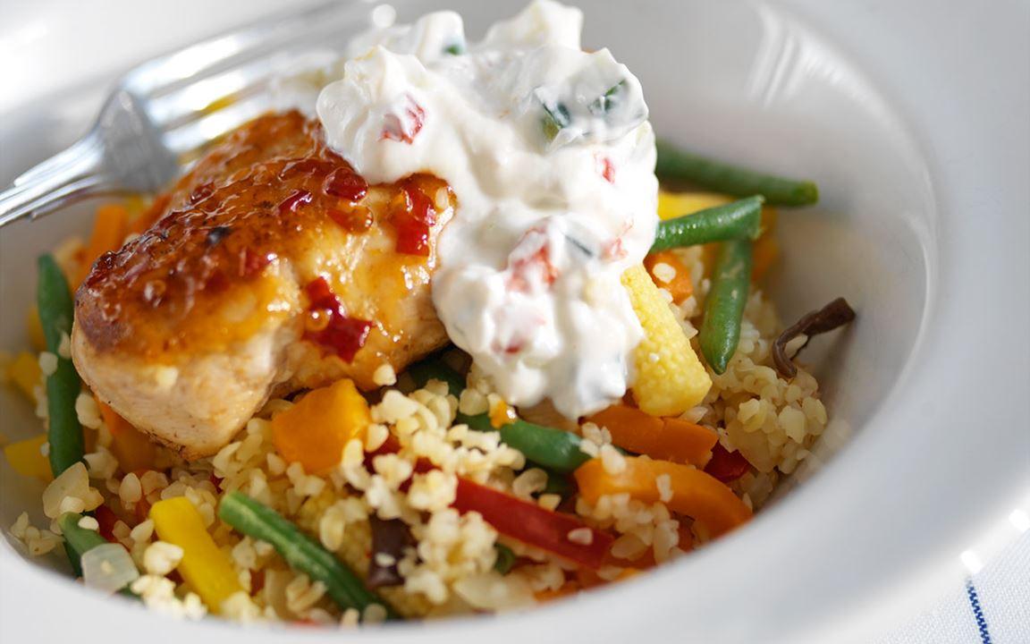 Kyckling med chiliyoghurt