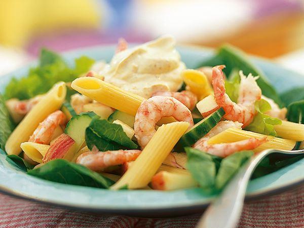 Orientalisk pastasallad med räkor