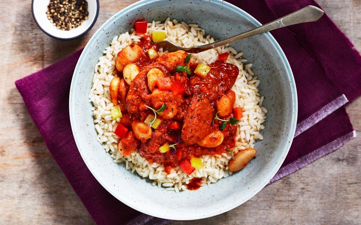 Texas chili med chorizo och ris