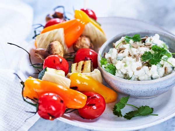 Grillade grönsaker med solrosröra