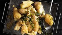 Kokt, krossad och rostad potatis
