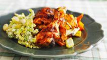 Ugnsstekt kyckling med coleslaw