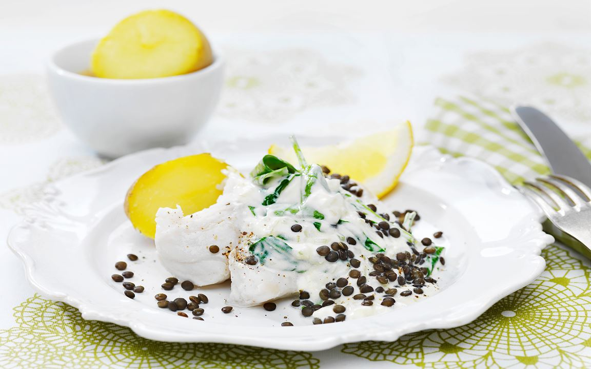 Festlig fisk med krämig spenat