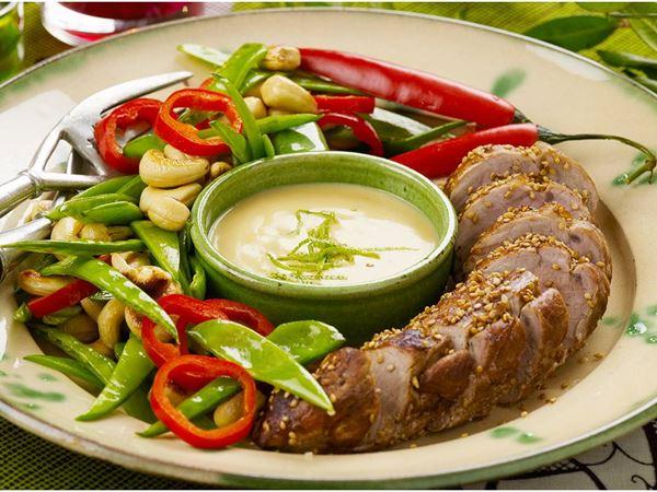 Helstekt fläskfilé med chilisås