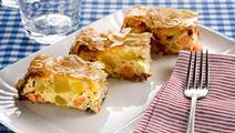 Lax i filodeg med potatis och ost