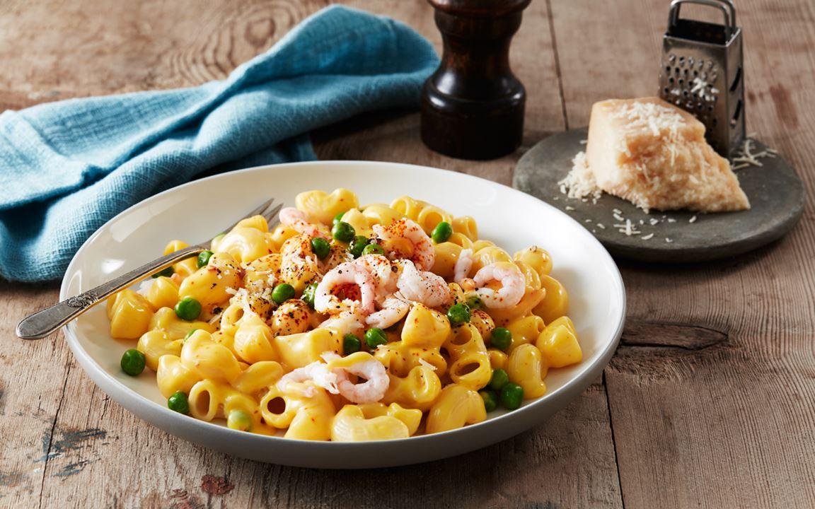 Citron- och räksås till pasta