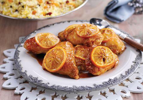 Apelsinbakad kyckling med nötris